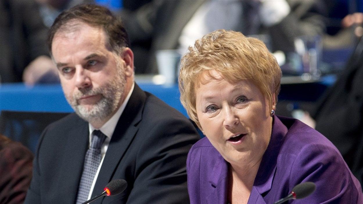 La première ministre Pauline Marois et le ministre de l'Enseignement suérieur Pierre Duchesne