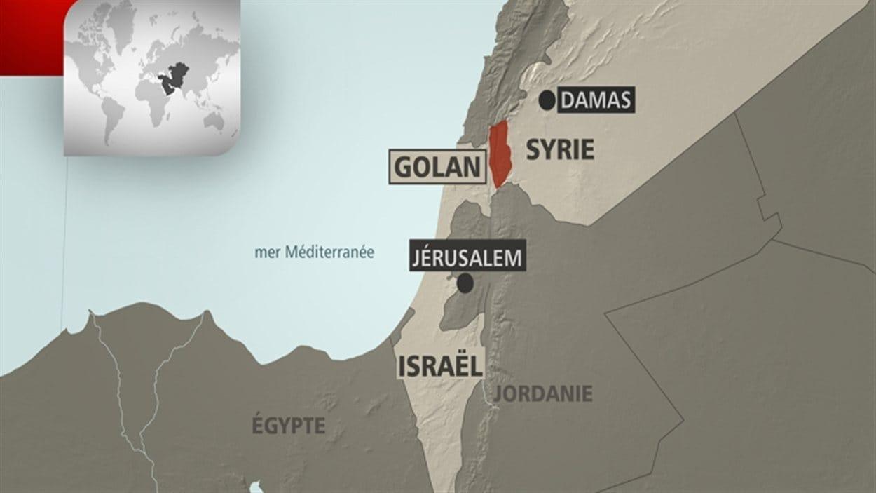 Carte géographique qui situe le Golan.