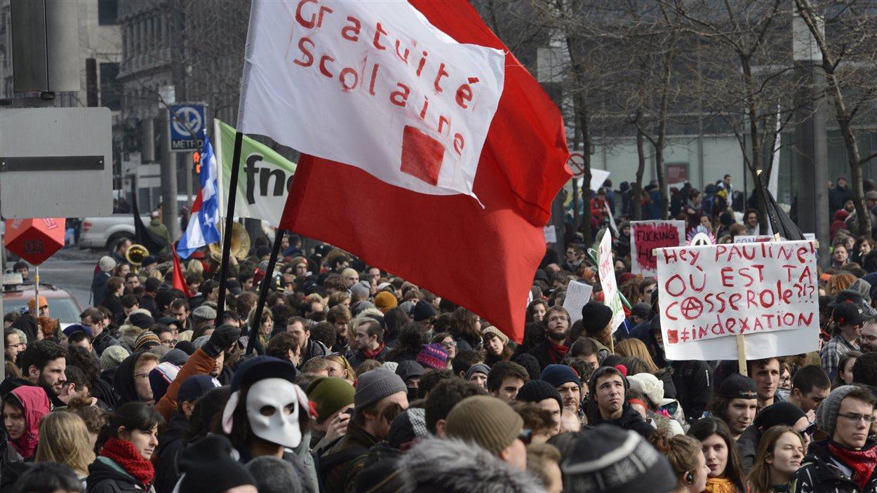Manifestation pour la gratuité scolaire à Montréal