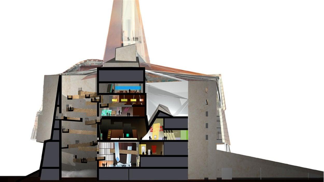 Un plan architectural du Musée canadien pour les droits de la personne à Winnipeg.