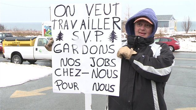 Un des manifestants à Caplan