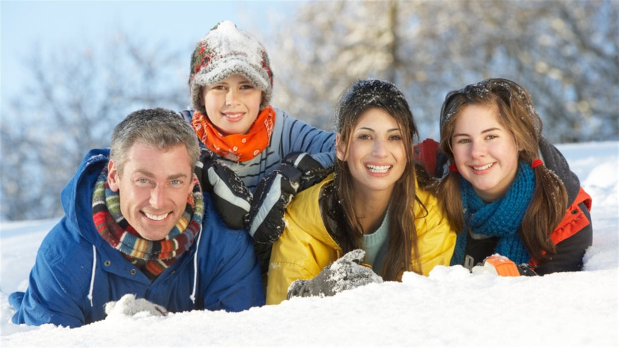 Portrait de famille en hiver