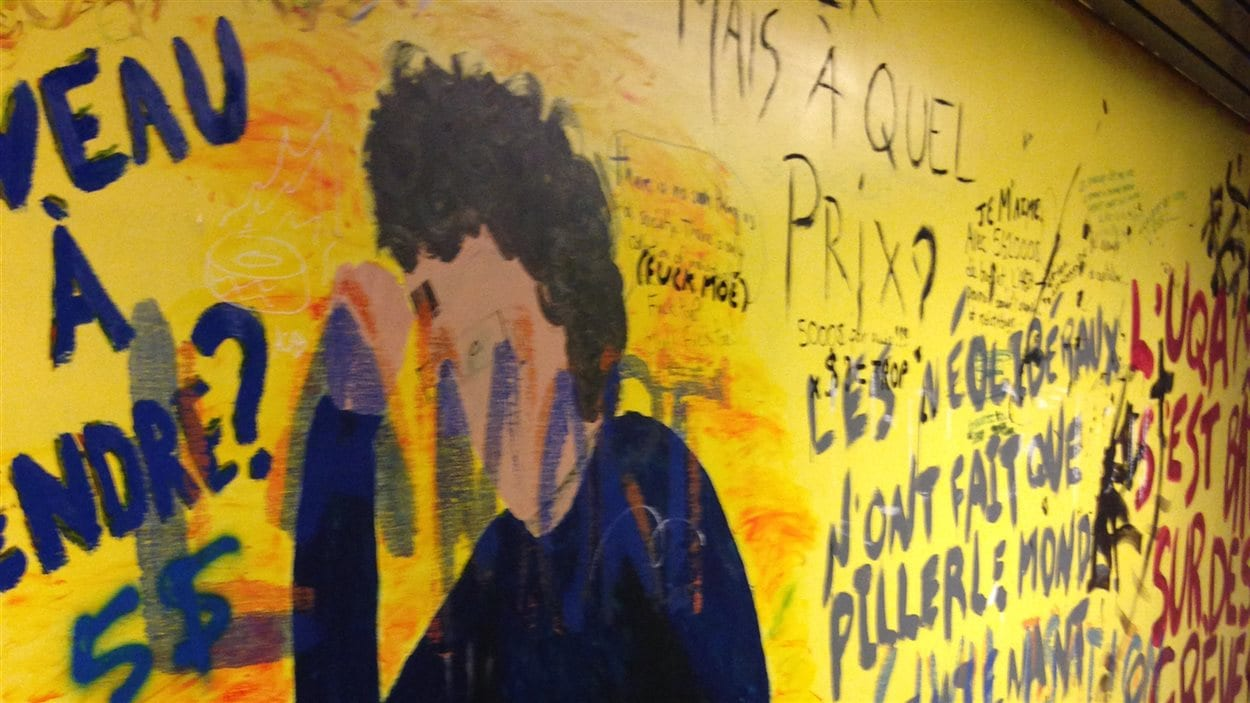 Graffitis sur les murs de l'Université du Québec à Montréal