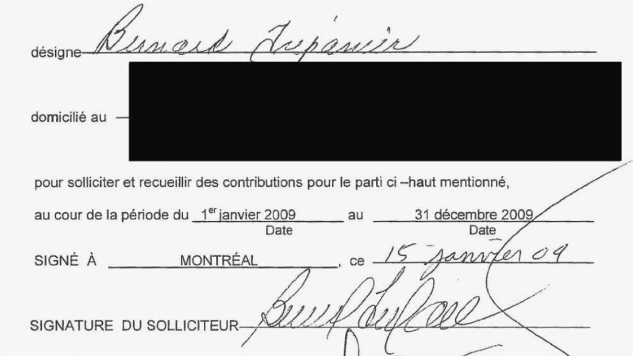 Certfificat accordé par Union Montréal à Bernard Trépanier l'autorisant à sollicité pour le parti en 2009