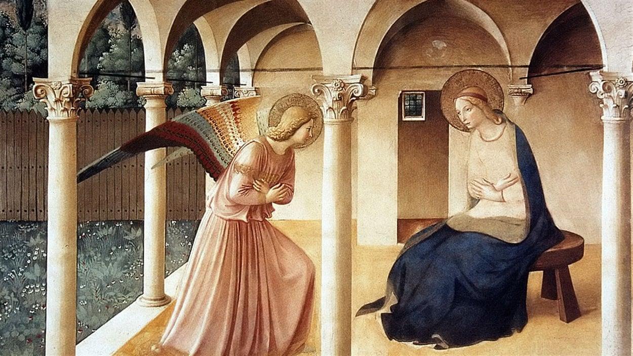 L'annonciation de Fra Angelico exécutée dans les années 1430, conservé aujourd'hui au musée du Prado, en Espagne.