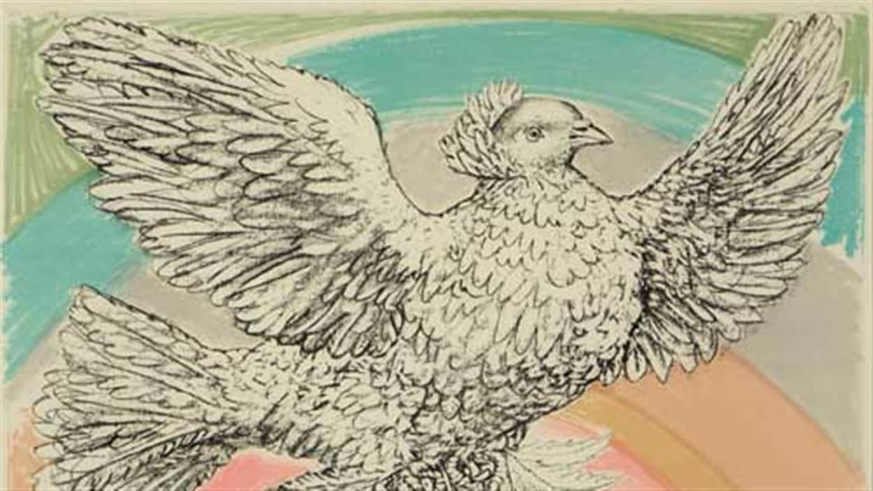 Colombe volante, Pablo Picasso, lithographie, 1952