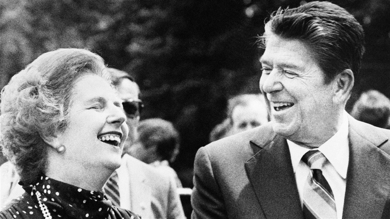 Margaret Thatcher et l'ancien président américain Ronald Reagan en 1981 à Ottawa.