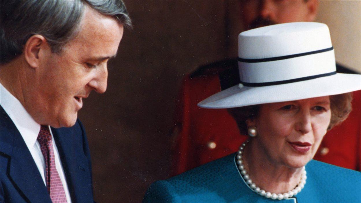 Brian Mulroney et Margaret Thatcher lors d'un sommet à Toronto en juin 1988