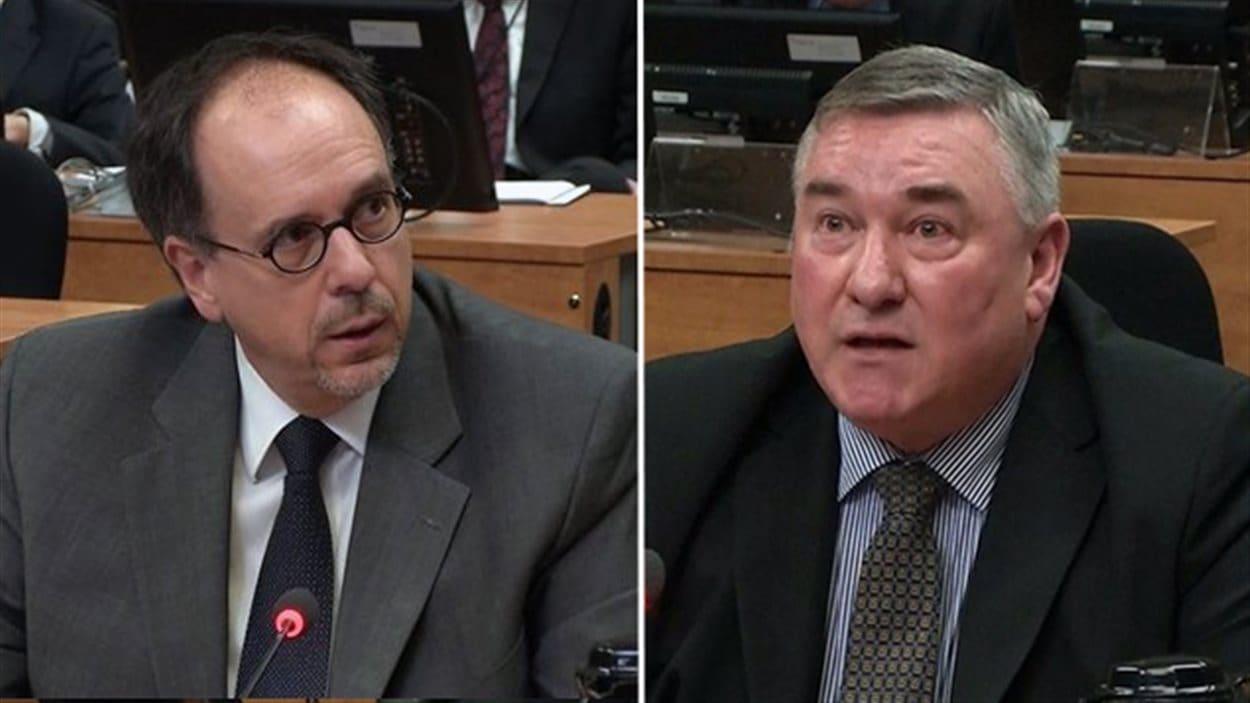 L'ex-directeur général de la Ville, Claude Léger (2006-2009) et l'ex-directeur de l'approvisionnement de la Ville de Montréal Serge Pourreaux