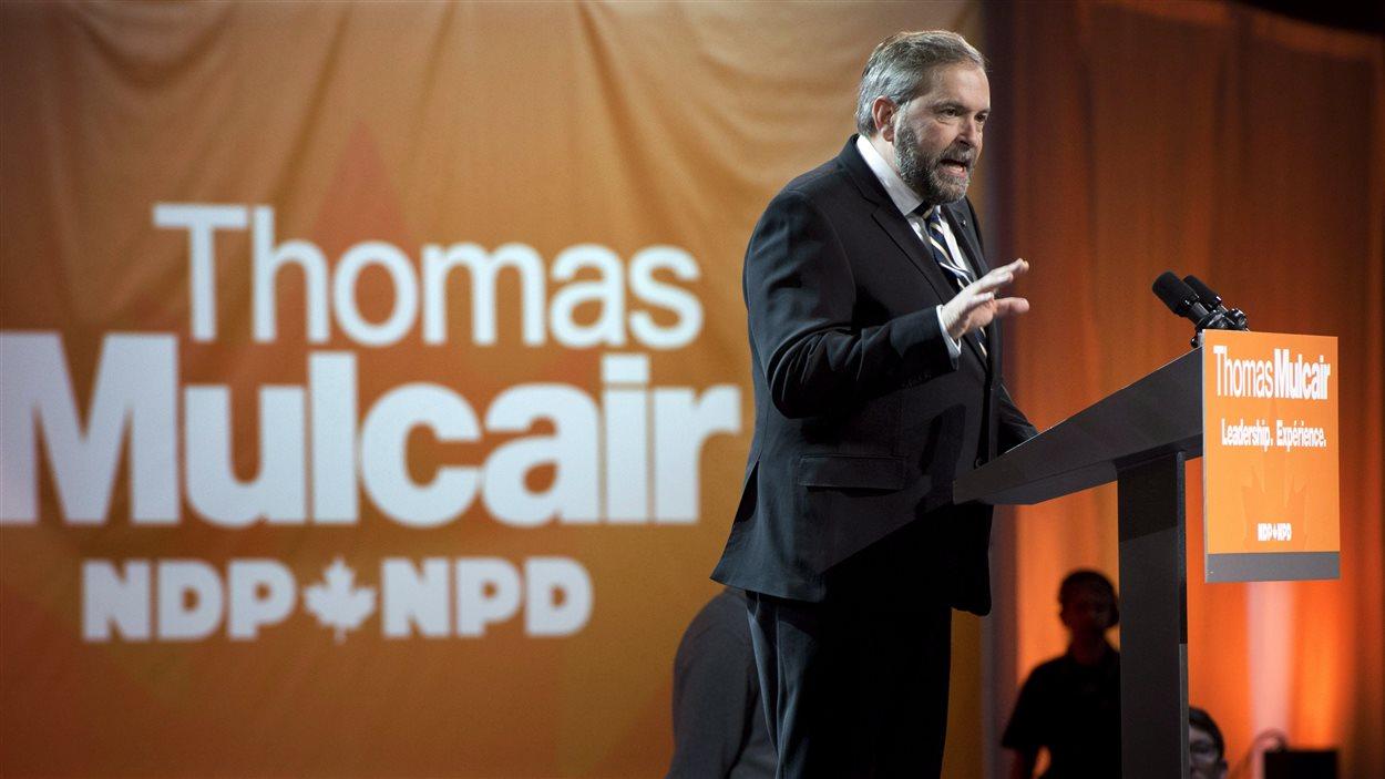 Thomas Mulcair lors de la deuxième journée de congrès, à Montréal le 13 avril 2013