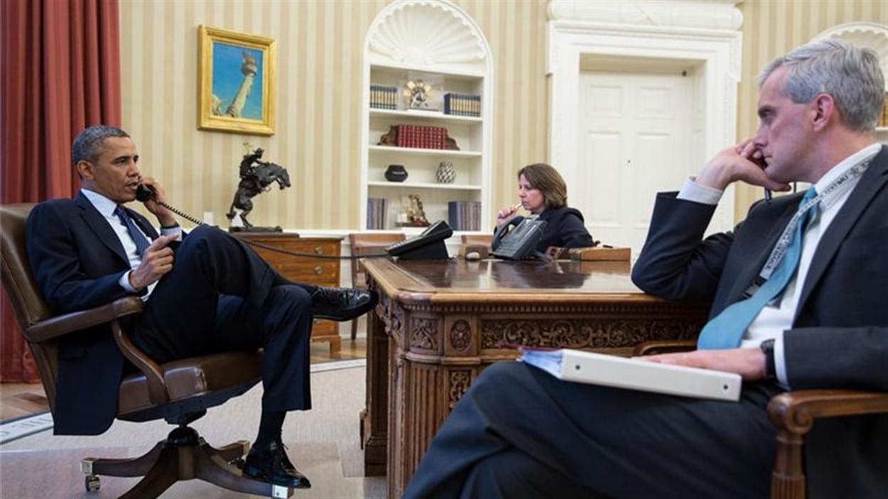 Barack Obama lorsqu'il a été informé des explosions au Marathon de Boston.