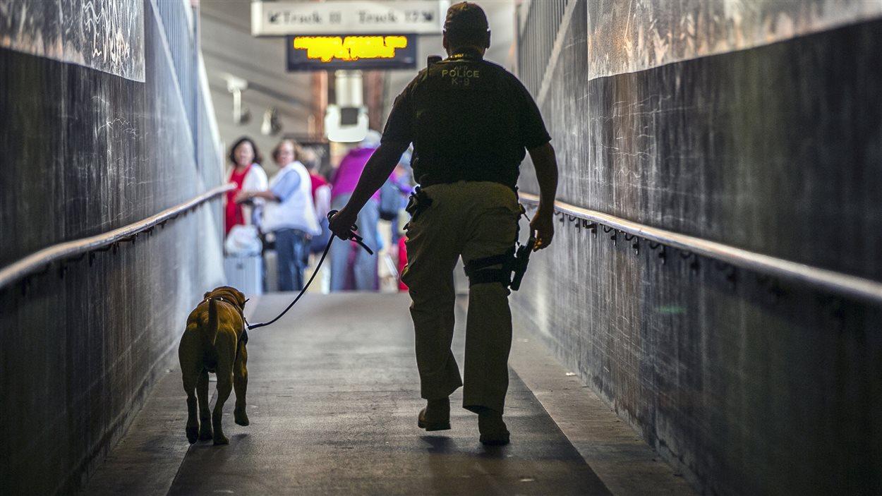 Un policier et un chien pisteur patrouillent les couloirs de la gare Union de Los Angeles.