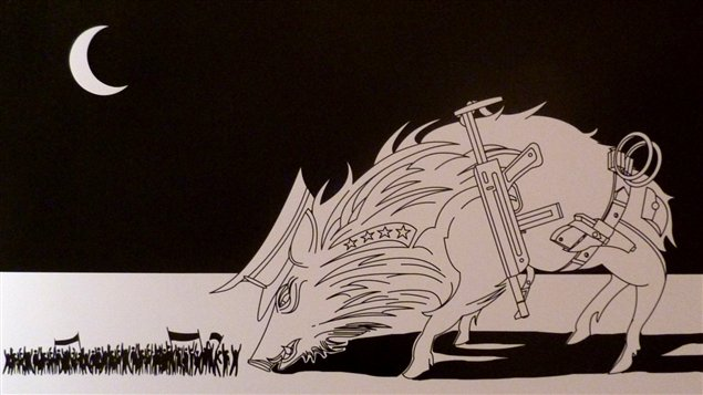 Une caricature exposée à Téhéran