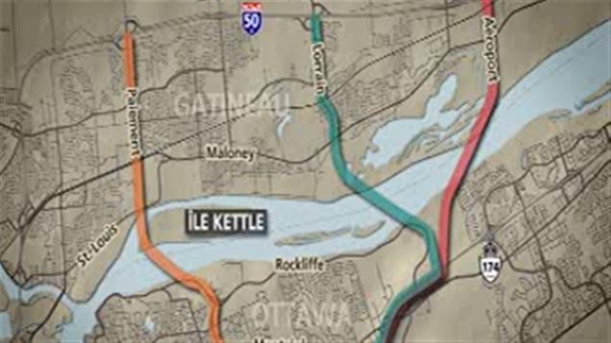 Trois corridors étaient à l'étude pour le futur pont entre Ottawa et Gatineau, dont celui de l'île Kettle.