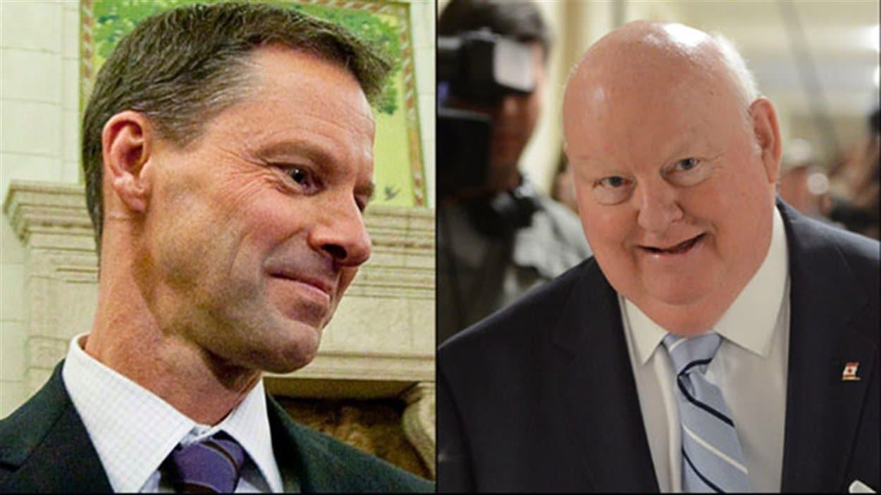 Le chef de cabinet du premier ministre Stephen Harper, Nigel Wright (gauche), a remboursé les dépenses de résidence du sénateur Mike Duffy (droite).