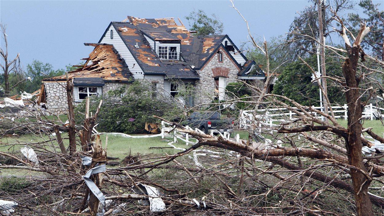 Les restes d'une maison à Moore en Oklahoma