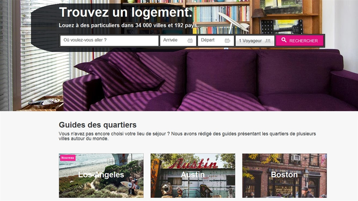 L'interface du site Airbnb. <em>Photo : Airbnb.com</em>