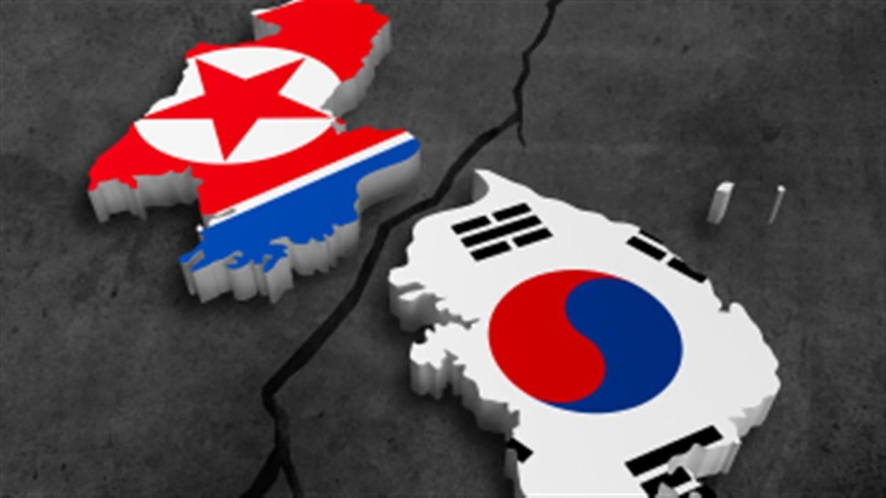 Drapeaux de la Corée du Nord et du sud