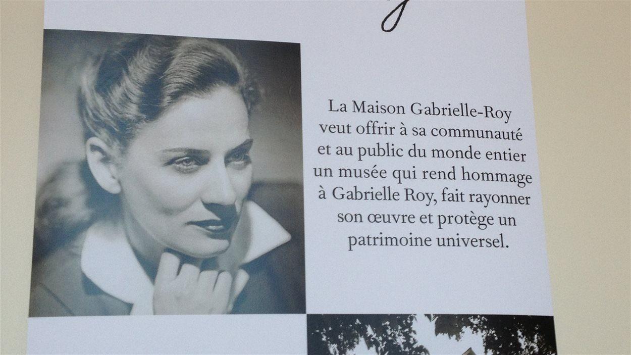 Une banderole concernant la Maison Gabrielle-Roy, exposée le 14 avril 2013 à Winnipeg.