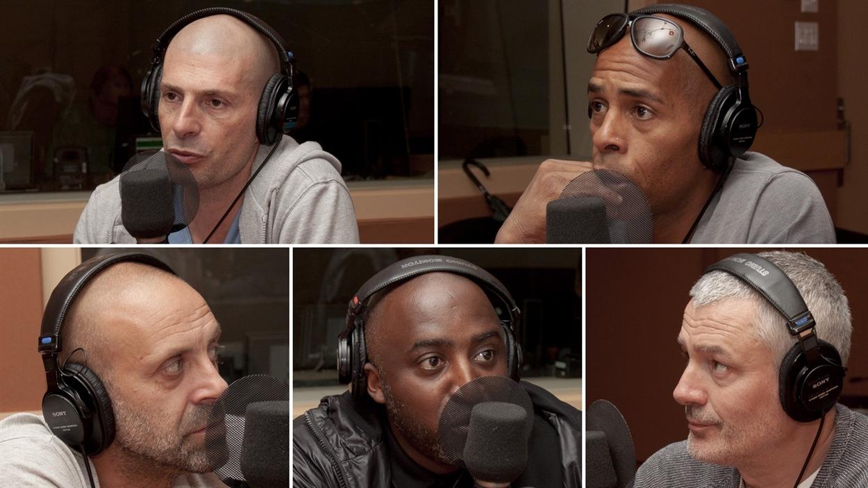 Les membres du groupe IAM, de gauche à droite et de haut en bas : Akhenathon, Shurik'n, Kheops, Kephren et Imhotep. <i>Photo : Radio-Canada/Olivier Lalande</i>