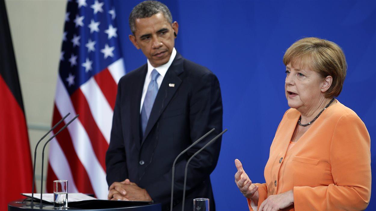 Le président des États-Unis, Barack Obama et la chancelière allemande Angela Merkel.