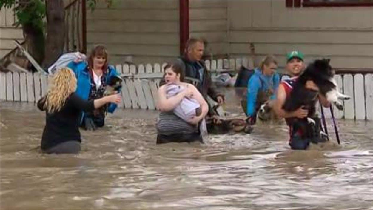 À High River, des résidents évacuent en emportant avec eux leurs animaux de compagnie.