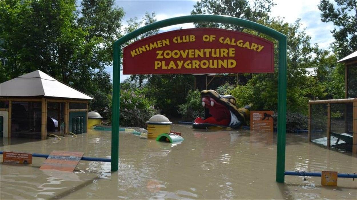 Le terrain de jeux du zoo de Calgary a grandement été inondé.