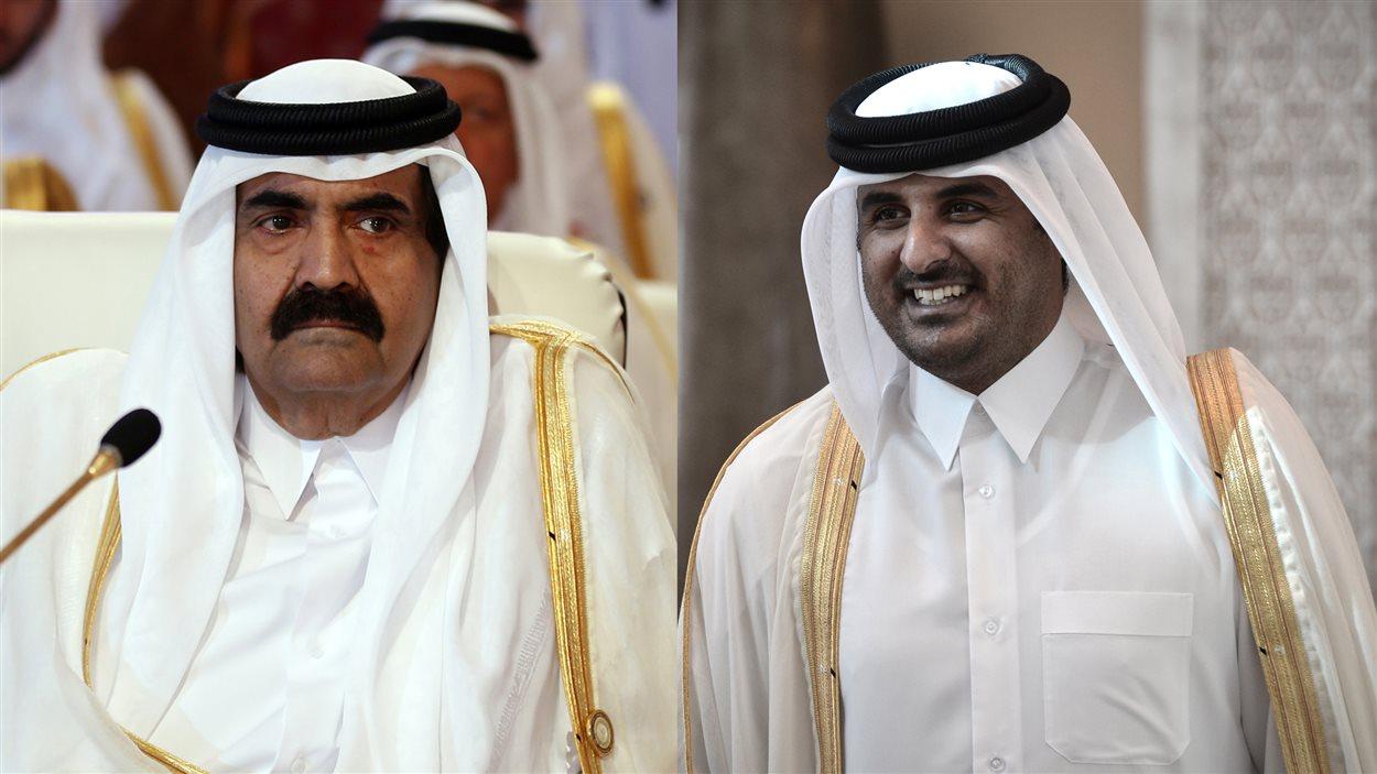 Collage : cheikh Hamad ben Khalifa Al Thani, lors de l'ouverture du sommet de la Ligue arabe, à Doha, le 26 mars 2013, et son fils, cheikh Tamim ben Hamad Al Thani, à son arrivée à la capitale du Bahreïn, Manama, le 24 décembre 2012.