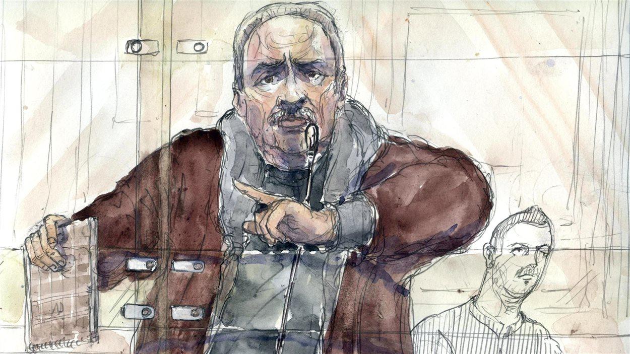 Ilich Ramirez Sanchez, mieux connu sous son nom de terroriste «Carlos le chacal», dans un dessin de la cour.