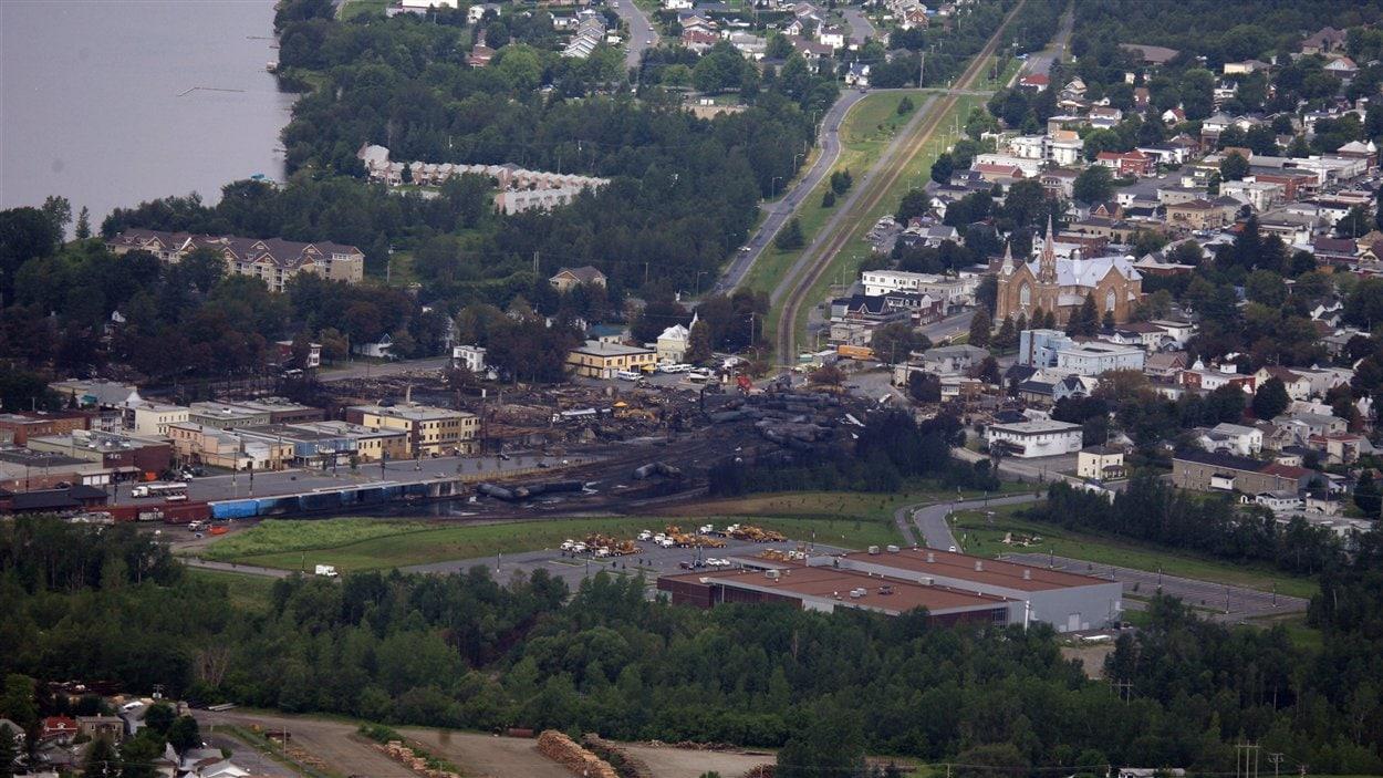 La ville de Lac-Mégantic vue des airs