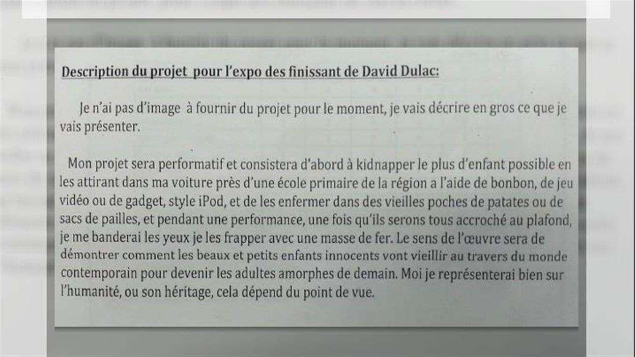 Le projet d'études de David Dulac