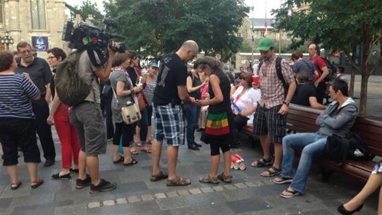 Veillée à la Place d'Armes, à Montréal