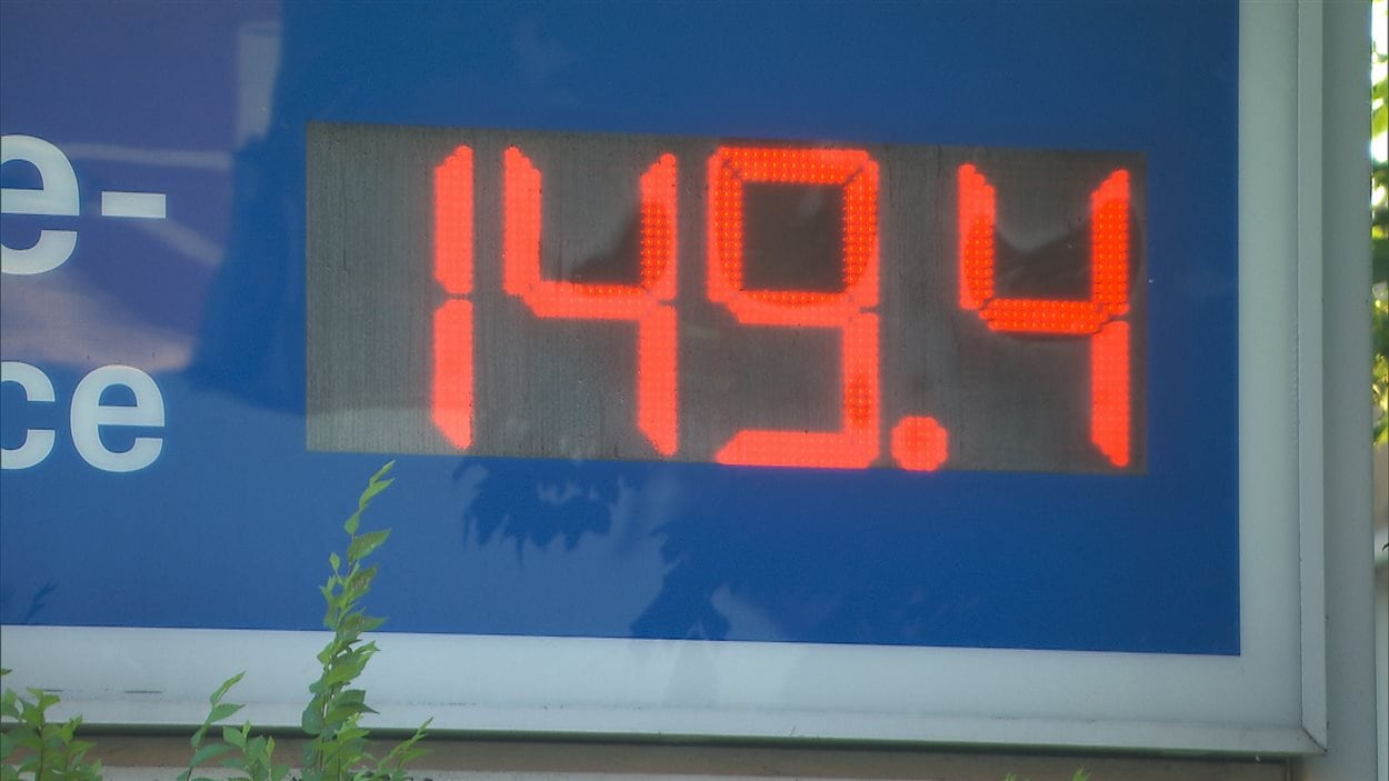 Affiche du prix de l'essence à Montréal