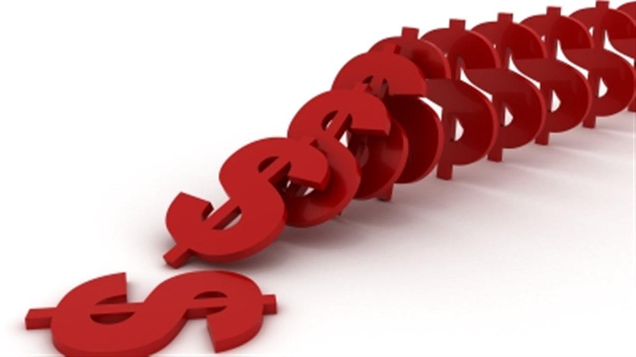 Des signes de dollars placés en domino