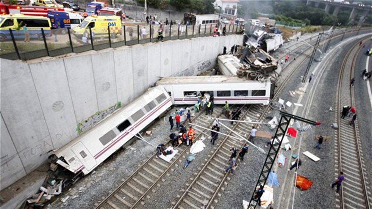 Le train qui a déraillé près de Saint-Jacques-de-Compostelle, le 24 juillet