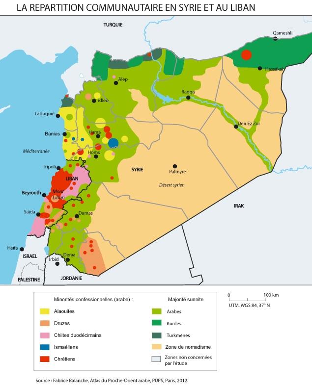 La répartition communautaire en Syrie et au Liban