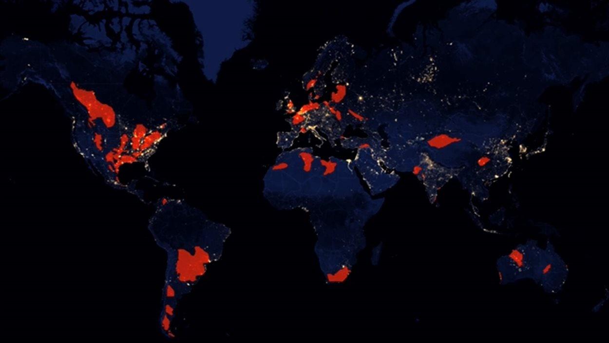 Répartition des gaz de schiste sur la planète.