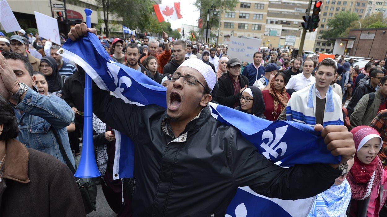 Manifestants contre la Charte des valeurs québécoises