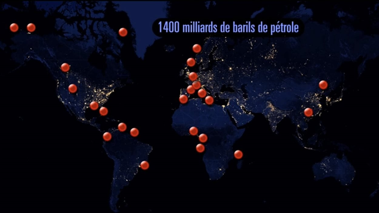 Quantité et distribution géographique du pétrole non conventionnel dans le monde.