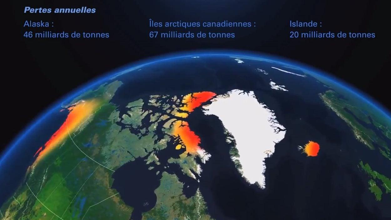 Les pertes annuelles des glaciers en Arctique