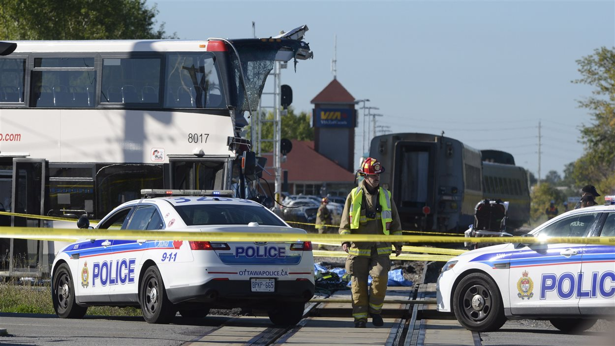 Une collision entre un train et un autobus