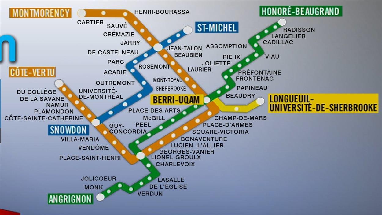 La carte actuelle du métro de Montréal