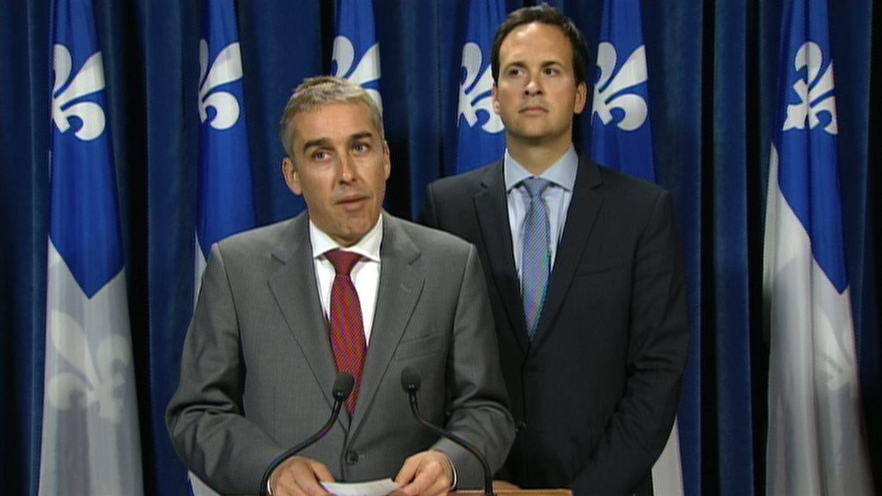 Les ministres Nicolas Marceau et Alexandre Cloutier