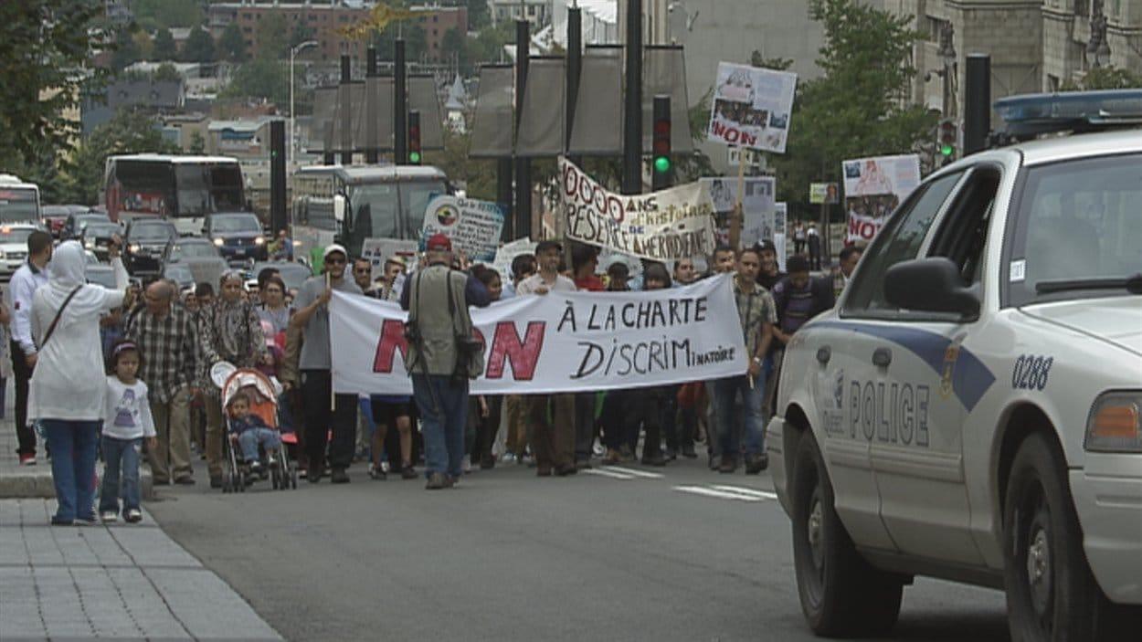 Manifestation contre la Charte des valeurs québécoises à Québec