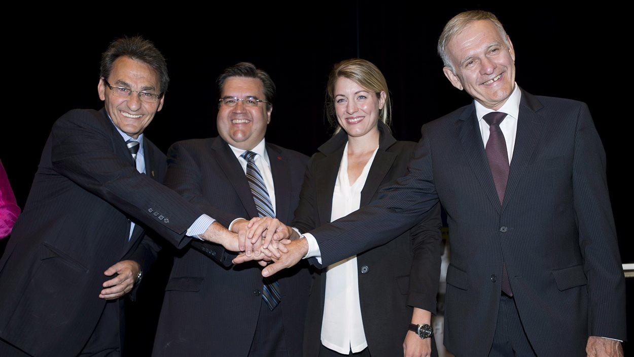 Les candidats à la mairie de Montréal Richard Bergeron, Denis Coderre, Mélanie Joly et Marcel Côté.