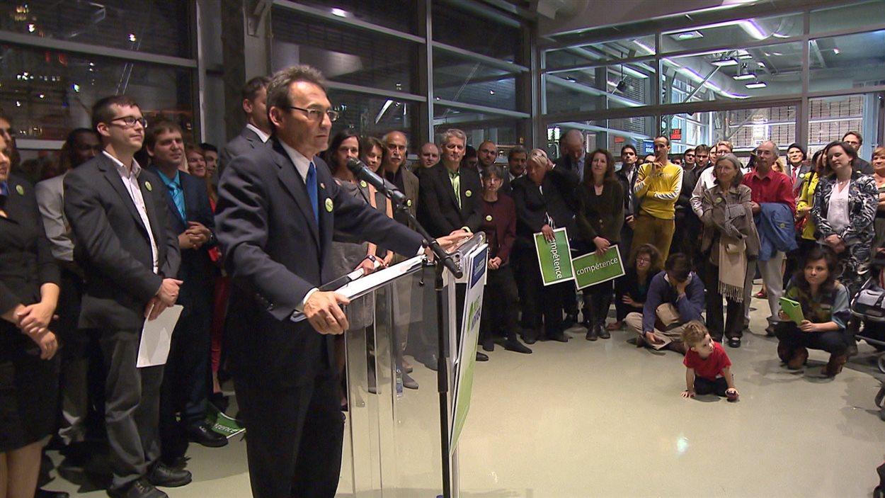 Le chef de Projet Montréal, Richard Bergeron, le soir du lancement de sa campagne électorale, le 25 septembre