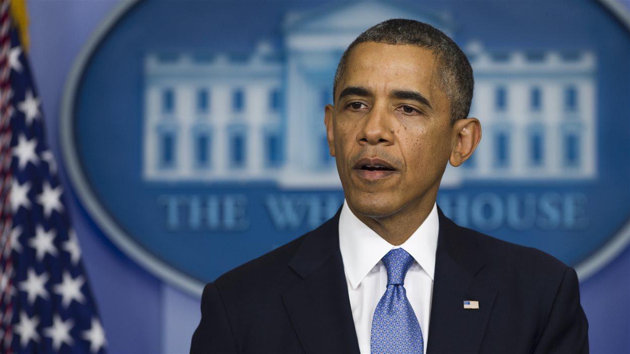 Barack Obama en point de presse à la Maison- Blanche, moins de 7 heures avant une possible impasse budgétaire.