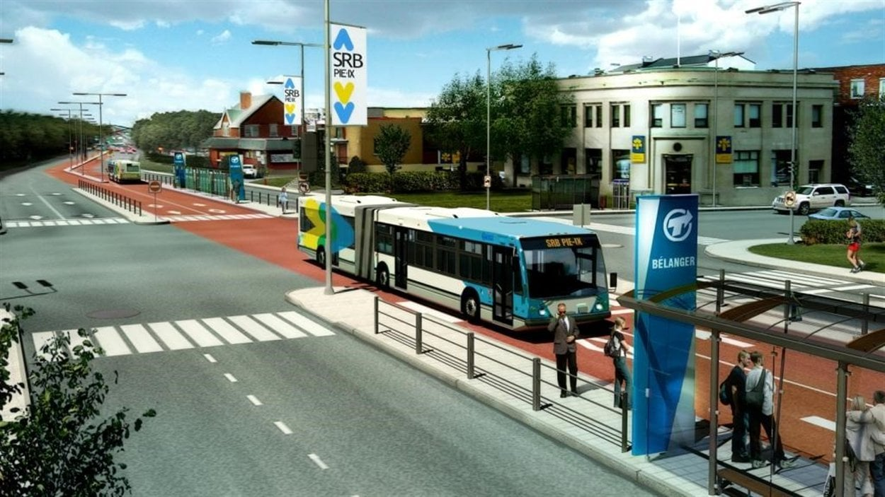 Image de synthèse du Système rapide par autobus de la Société de transport de Montréal