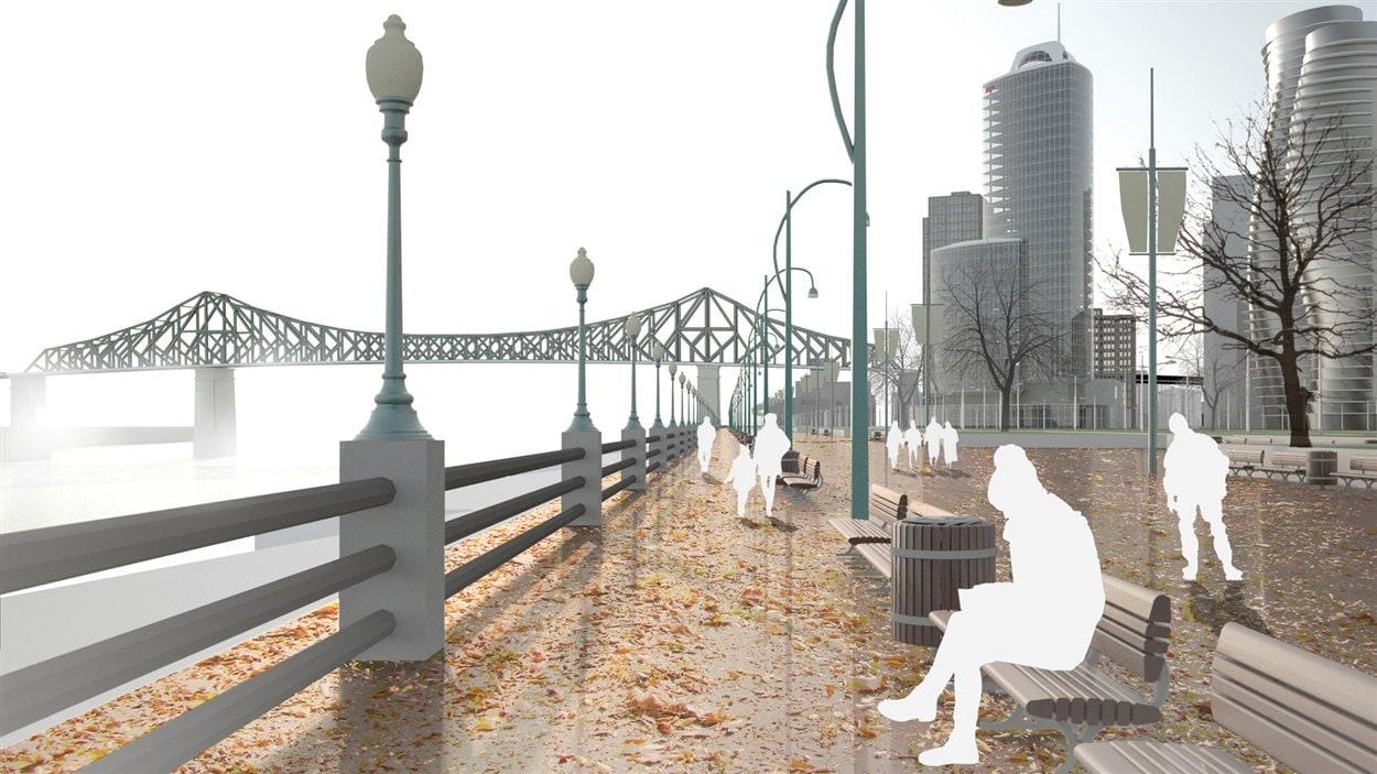 Dessin d'artiste de l'Entrée maritime du parti Projet Montréal