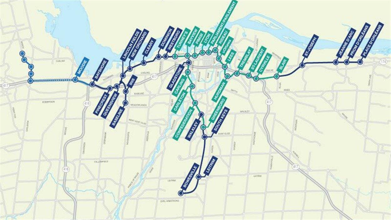 L'étape 2 du train léger à Ottawa prévoit 35 kilomètres de nouvelles voies et 19 nouvelles stations.